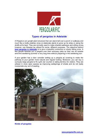 Types of pergolas in Adelaide