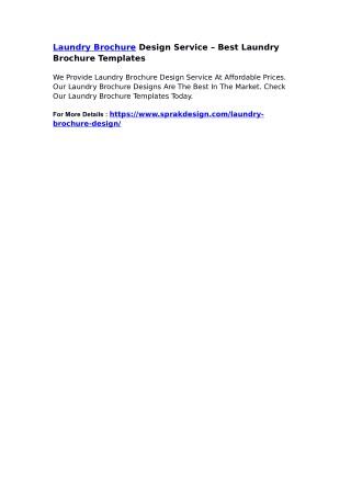 Laundry Brochure Design Service – Best Laundry Brochure Templates