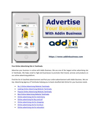 Free Online Advertising Site in Tamilnadu