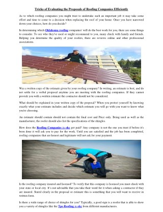 Tricks of Evaluating the Proposals of Roofing Companies Efficiently