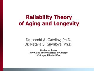 Reliability Theory  of Aging and Longevity