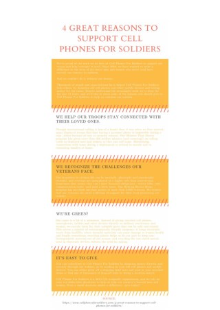 4 Great Reasons to Support Cell Phones For Soldiers