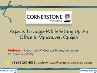 Aspects To Judge While Setting Up An Office In Vancouver, Canada