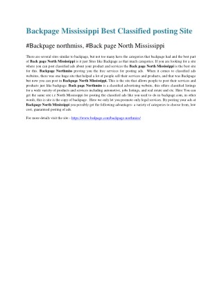 Backpage Mississippi Best Classified posting Site