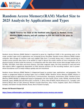 Random Access Memory(RAM) Market Size to 2025 Analysis by Applications and Types