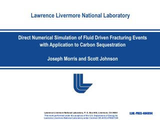 Direct Numerical Simulation of Fluid Driven Fracturing Events with Application to Carbon Sequestration Joseph Morris and