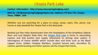 Here Is What You Should Do For Your Utopia Park Lake