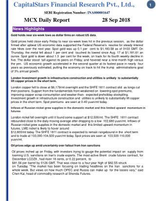 Mcx daily report 28 sept