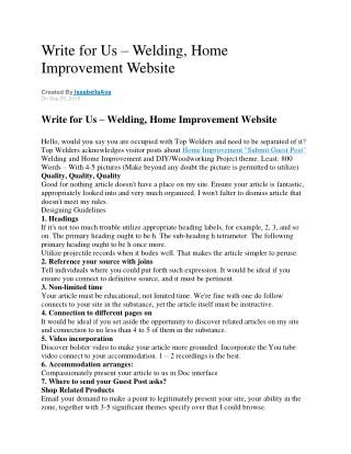 Write for Us – Welding, Home Improvement Website
