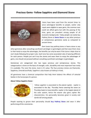 Precious Gems- Yellow Sapphire and Diamond Stone
