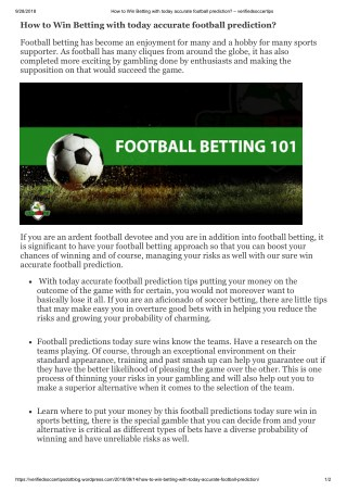 How to Win Betting with today accurate football prediction