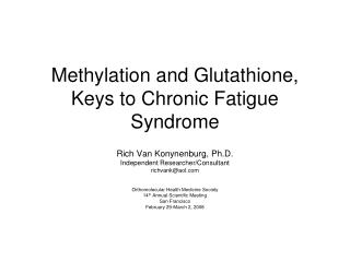 Methylation and Glutathione, Keys to Chronic Fatigue Syndrome
