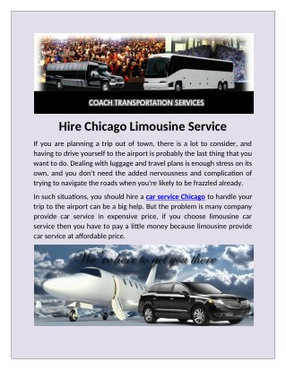 Find a private Airport Limo Services in Chicago