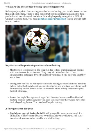 What are the best soccer betting tips for beginners