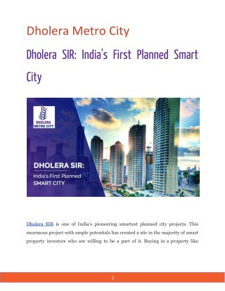 Dholera SIR: India's First Planned Smart City