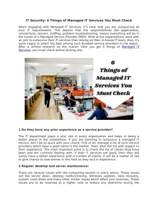 IT Security: 6 Things of Managed IT Services You Must Check