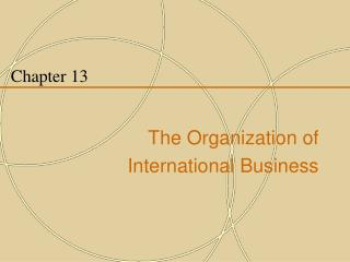 Chapter 13 The Organization of  International Business