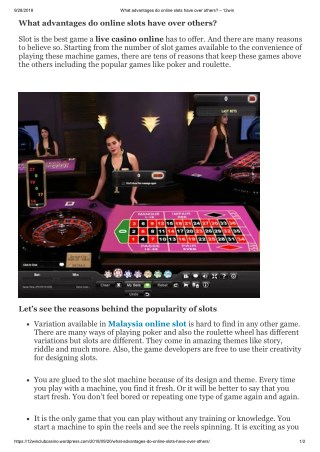 What advantages do online slots have over others