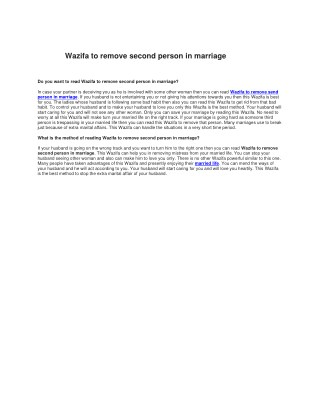 Wazifa to remove third person out of marriage
