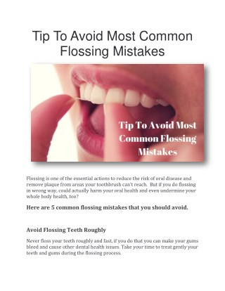 Tip To Avoid Most Common Flossing Mistakes