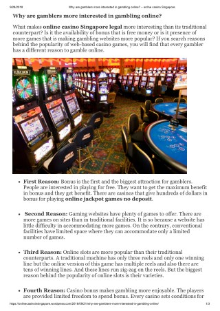 Why are gamblers more interested in gambling online