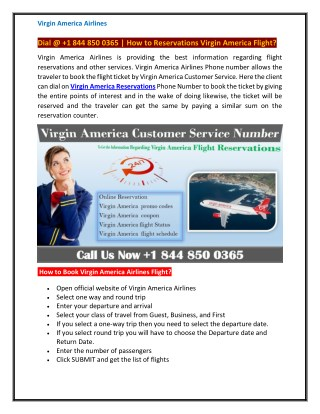 How to online Booking Virgin America Airlines? Dial @ 1 844 850 0365