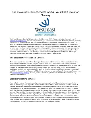 Westcoast Escalator Cleaning Services USA