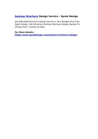 Seminar Brochure Design Service - Sprak Design
