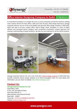 Office Interior Designing Company In Delhi- SYNERGYCE