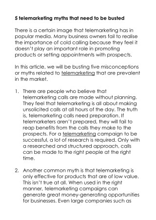 5 telemarketing myths that need to be busted