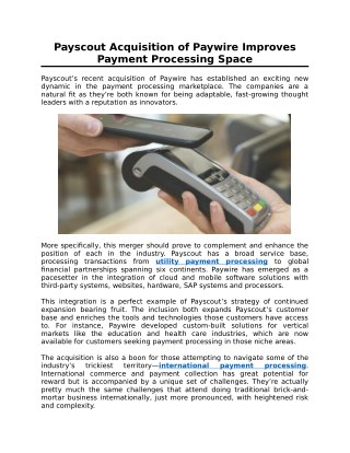 Payscout Acquisition of Paywire Improves Payment Processing Space