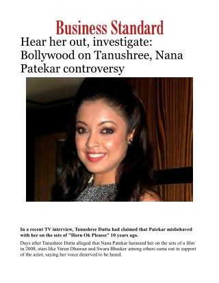 Hear her out, investigate: Bollywood on Tanushree, Nana Patekar controversy