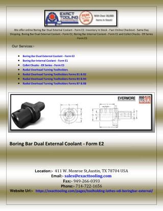 Boring Bar Dual External Coolant - Form E2