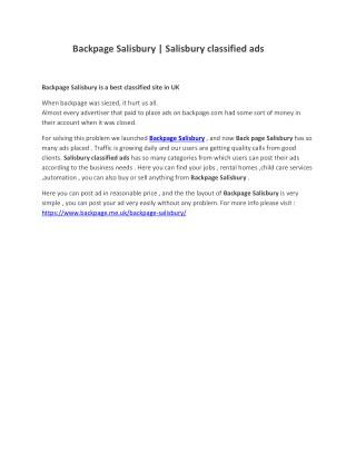 Backpage Salisbury   Salisbury classified ads