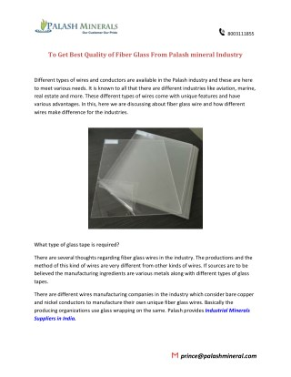 To Get Best Quality of Fiber Glass From Palash mineral Industry