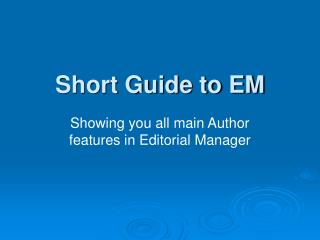 Short Guide to EM