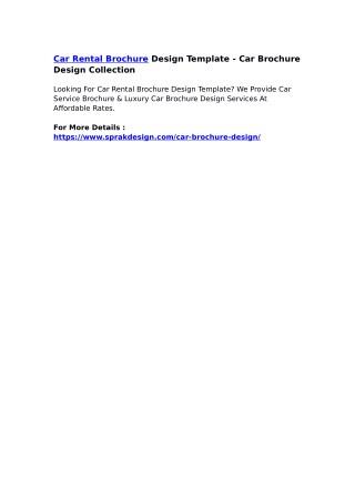 Car Rental Brochure Design Template - Car Brochure Design Collection