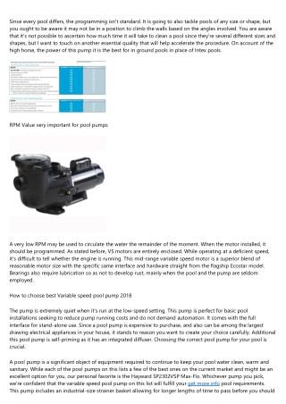 Variable Speed Pool Pumps Reviews