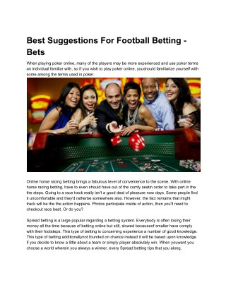 Best Suggestions For Football Betting - Bets