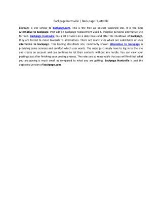 Backpage huntsville | Back page huntsville