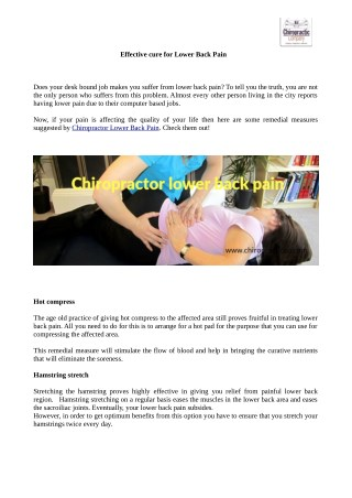 Effective cure for Lower Back Pain