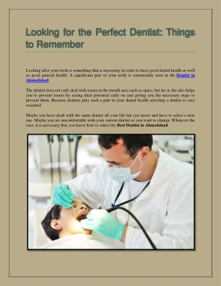 Looking for the Perfect Dentist: Things to remember