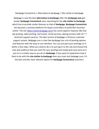 Backpage Connecticut   Alternative to backpage   Site similar to backpage   Backpage