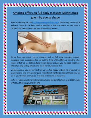 Amazing Offers on Full Body Massage Mississauga given by Young Shape Spa