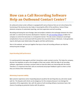 How can a Call Recording Software Help an Outbound Contact Center