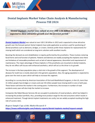 Dental implants market value chain analysis & manufacturing process till 2024