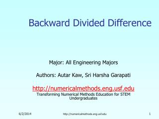 Backward Divided Difference