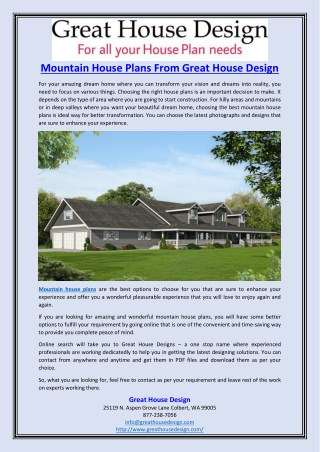 Mountain House Plans From Great House Design