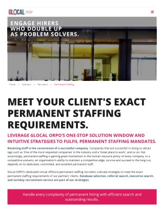 Permanent IT Staffing Recruiters in US - Glocal RPO