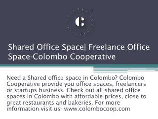 Shared Office Space| Freelance Office Space-Colombo Cooperative